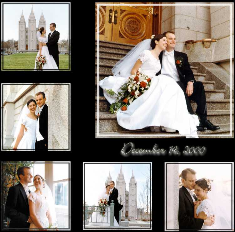 Collage of pictures at SLC Temple of wedding