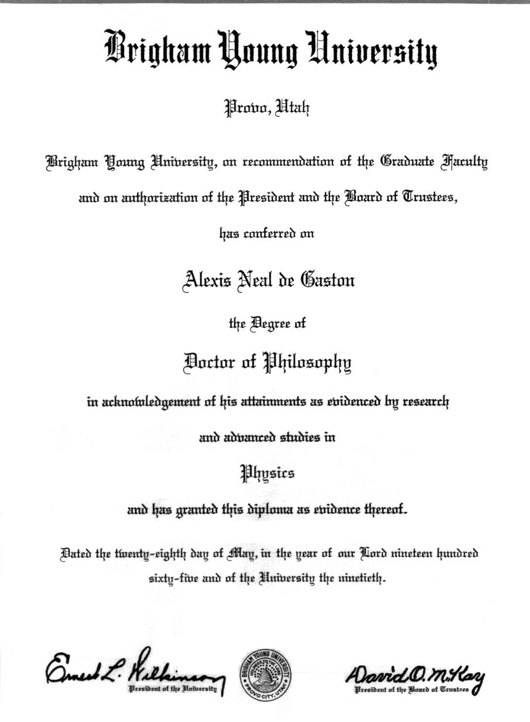 resume of a neal de gaston brigham young university ph d distinction physics 1965
